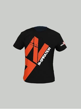 Nspiration Mens T-Shirt Black with Red Logo L