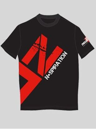 Nspiration Mens T-Shirt Dark Grey with Red logo L