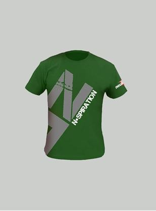Nspiration Mens T-Shirt Olive Green with Dark Grey Logo L