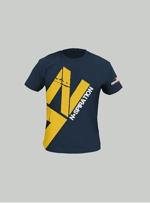 Nspiration Mens T-Shirt Navy Blue with Yellow logo L