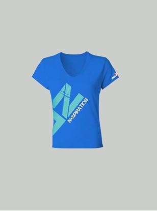 Nspiration Womens Tee Royal Blue with Turquoise Logo 38
