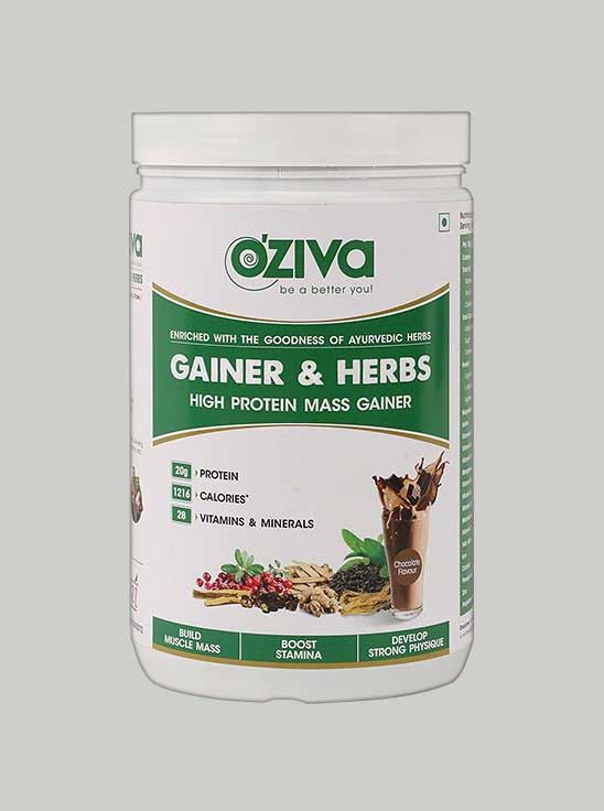 Picture of Oziva - Gainer & Herbs Mass Gainer Chocolate 2.2 Lbs