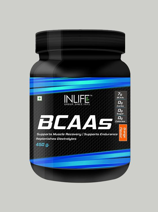 Picture of INLIFE- BCAA Branched Chain Amino Acid 450 gm Orange Flavour