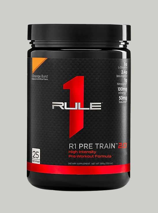 Picture of Rule 1 Pre Train 2.0 Pre-Workout 25 Serving Orange Burst 388 g