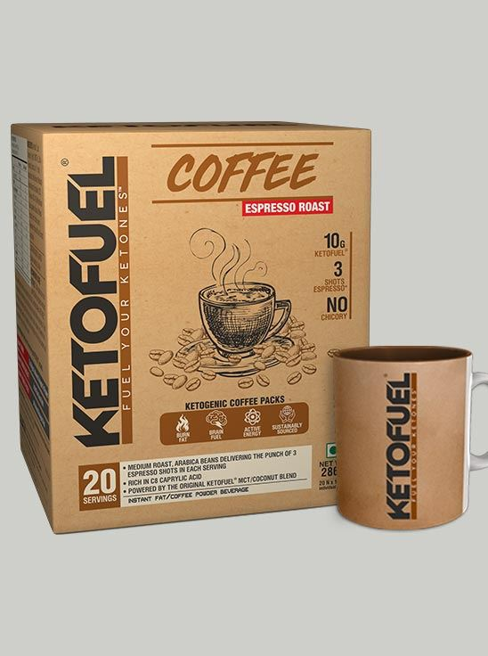Picture of KETOFUEL COFFEE Espresso Keto Coffee mix 20 pks w/Free Coffee Mug