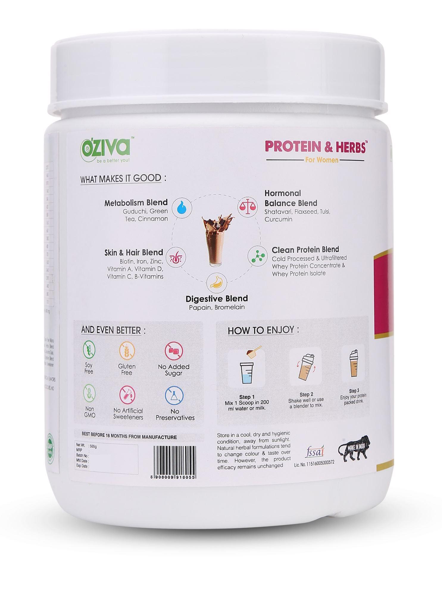 Picture of OZiva Protein & Herbs, Women - Whey Protein Powder with Ayurvedic Herbs & Multivitamins