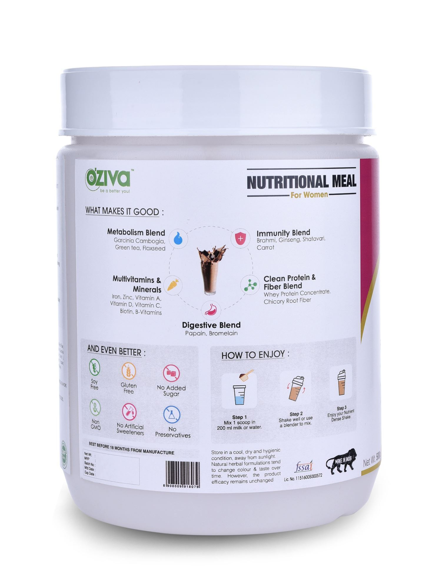 Picture of OZiva Nutritional Meal Shake Women, High Protein Meal Replacement , Chocolate 500g/1.1 Lbs