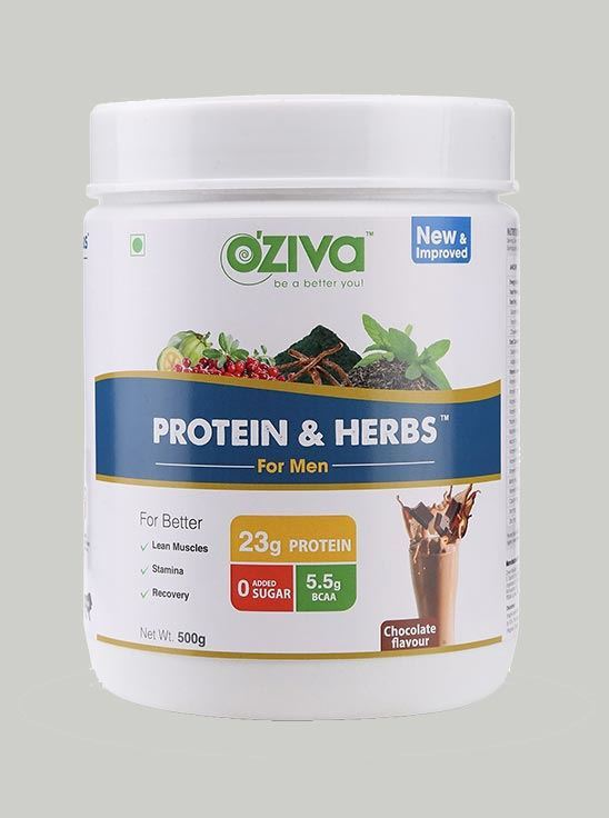 Picture of OZiva Protein & Herbs Men Whey Protein with Ayurvedic Herbs, Chocolate 1.1 lbs