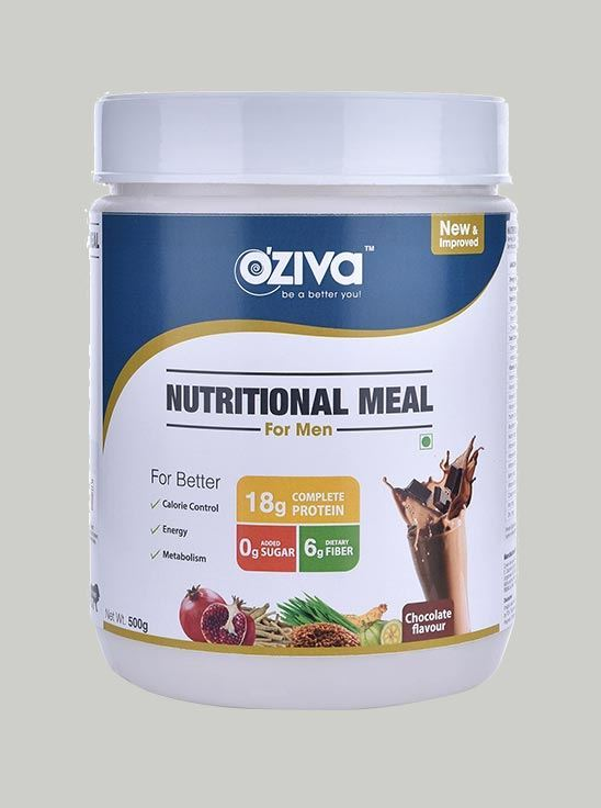 Picture of OZiva Nutritional Meal Shake Men, High Protein Meal Replacement Chocolate 1.1 Lbs
