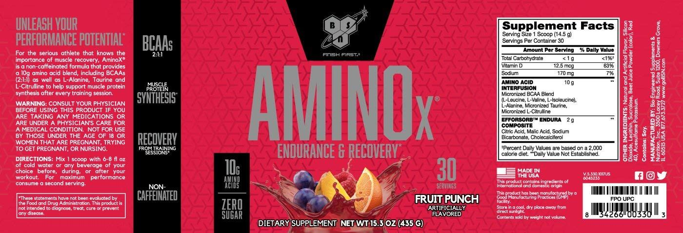 Picture of BSN Amino X Acids - Fruit Punch 30 Servings