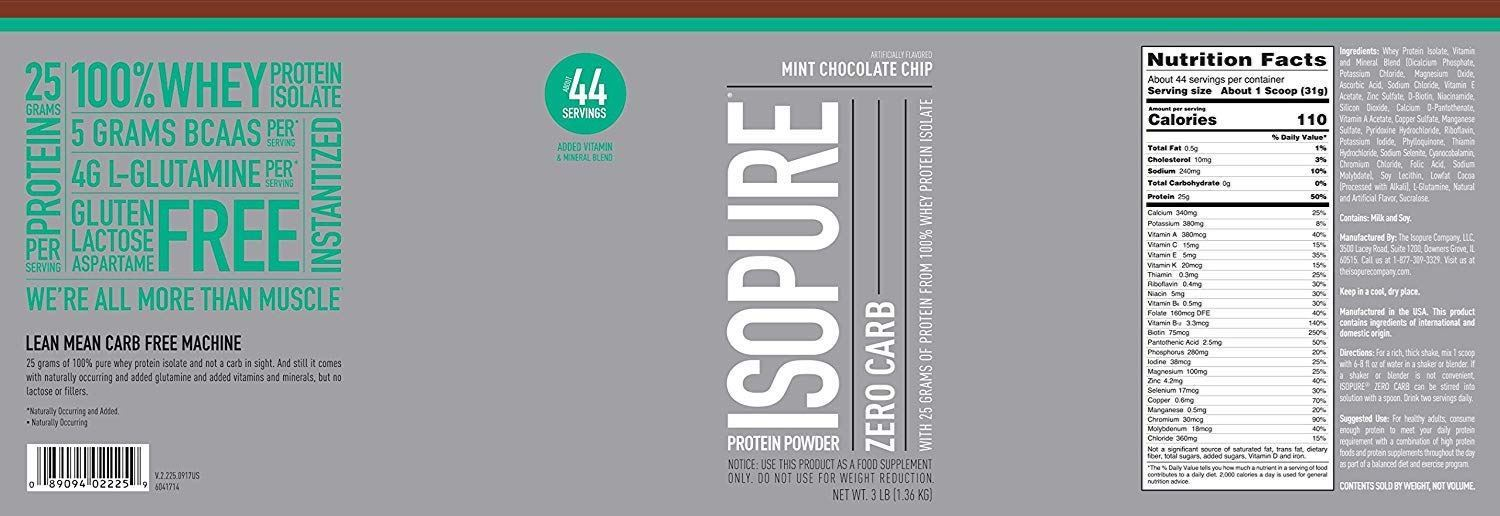Picture of Isopure - Whey Protein Isolate Mint Chocolate Chip 3 Lbs