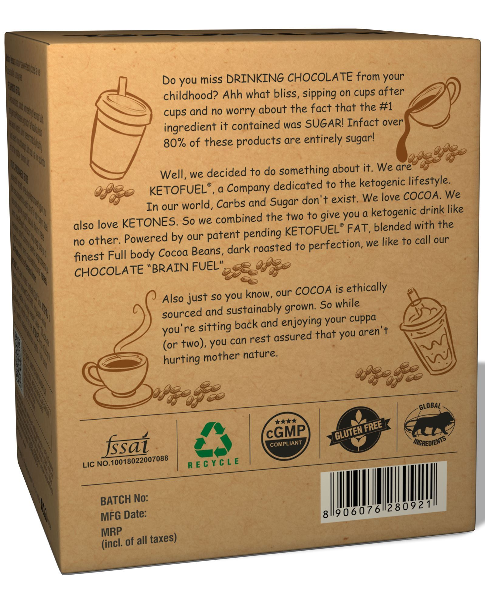 Picture of KETOFUEL DRINKING CHOCOLATE Keto Cocoa Powder with MCTs & Coconut 20 pks/box with Free Mug