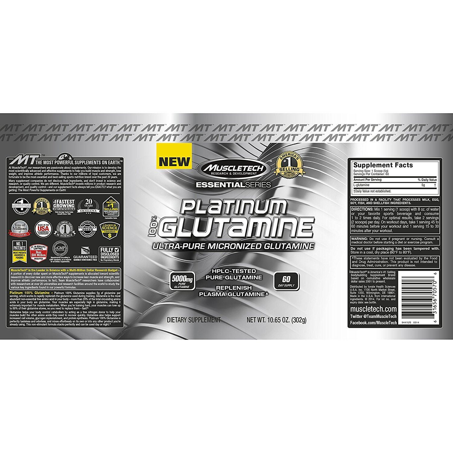 Picture of Muscletech Platinum 100% Glutamine 302 g
