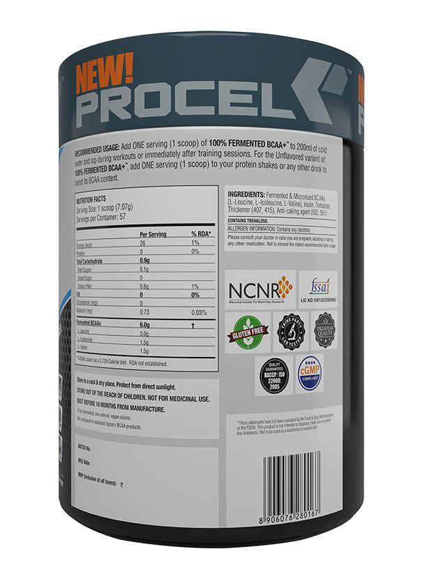 Picture of PROCEL - 100% Fermented BCAA+ Unflavoured 57 Servings 400g