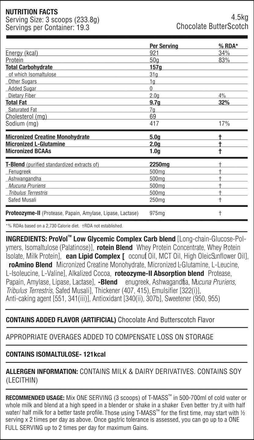 Picture of PROCEL - High Protein T-MASS Gainer Chocolate Butterscotch 4.5kg