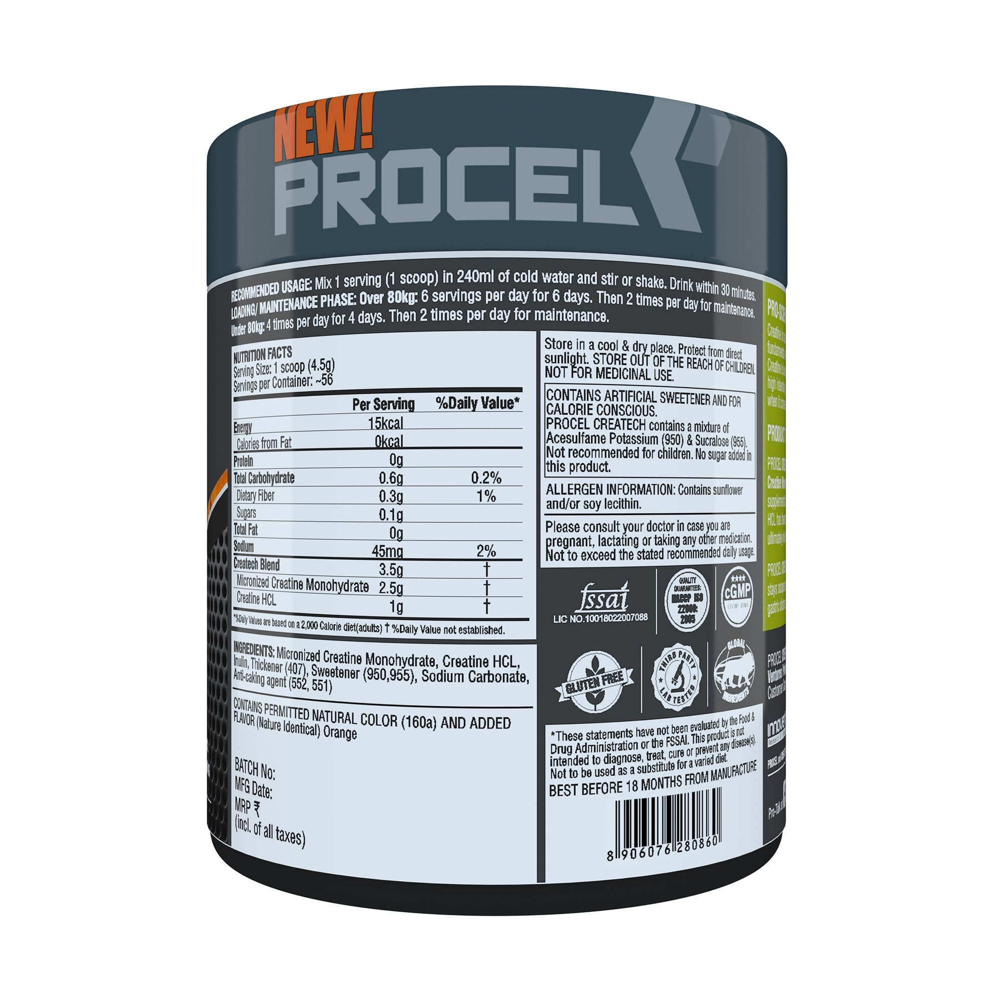 Picture of PROCEL CREATECH Multi-Form Creatine Matrix 56 Servings Orange Burst