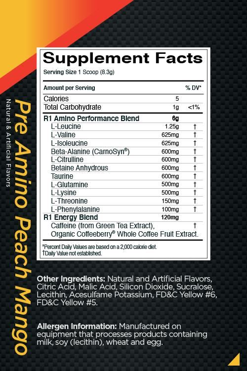 Picture of Rule 1 Pre-Amino Peach Mango 30 Servings (Short Shelf Life)