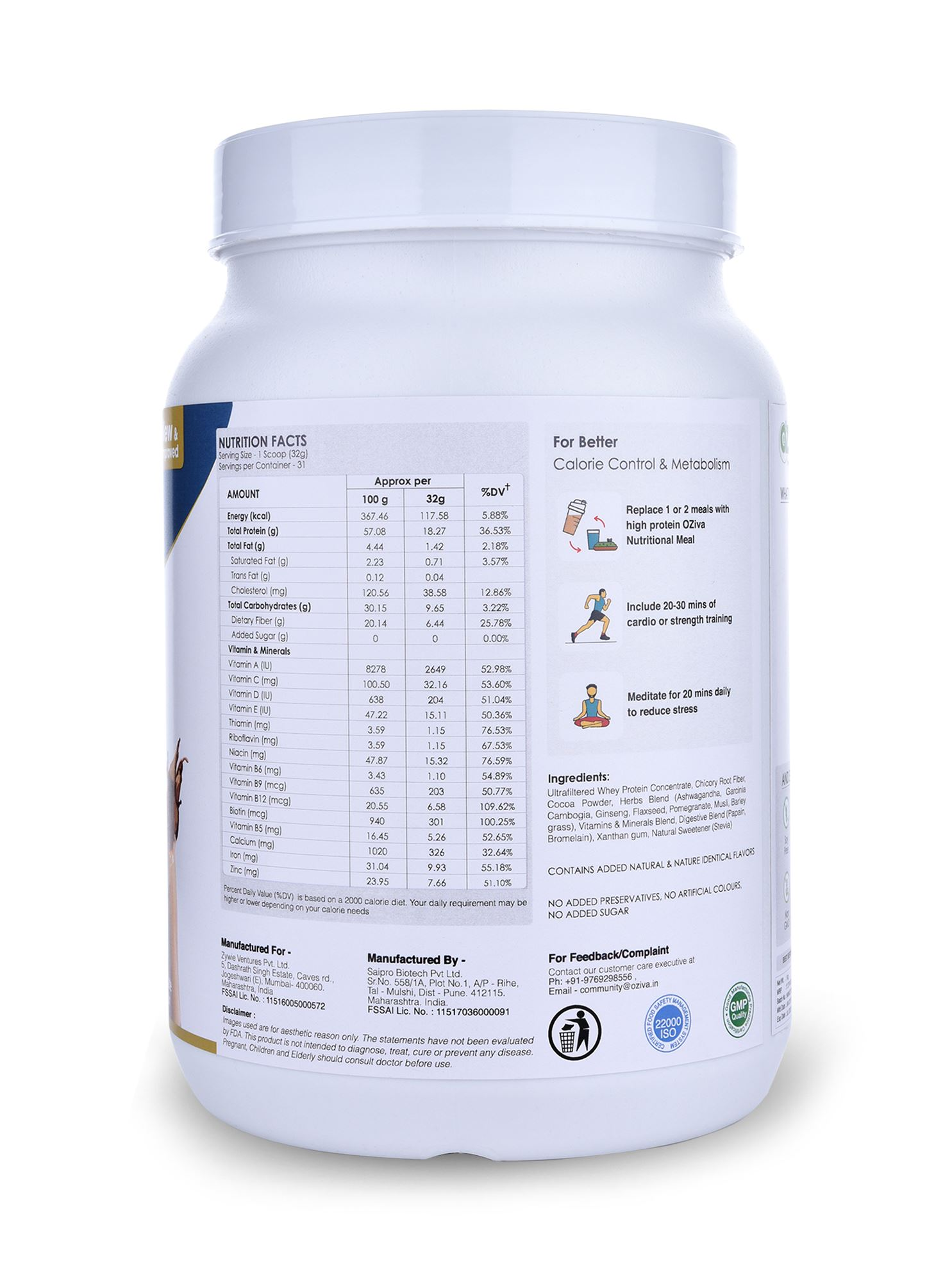 Picture of Oziva- Meal Shake Men High Protein Meal Replacement Chocolate 2.2 Lbs