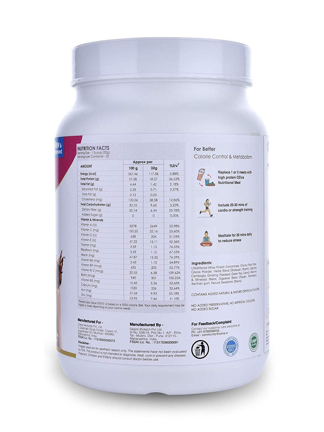 Picture of OZiva Nutritional Meal Shake Women, High Protein Meal Replacement, Chocolate 2.2 Lbs