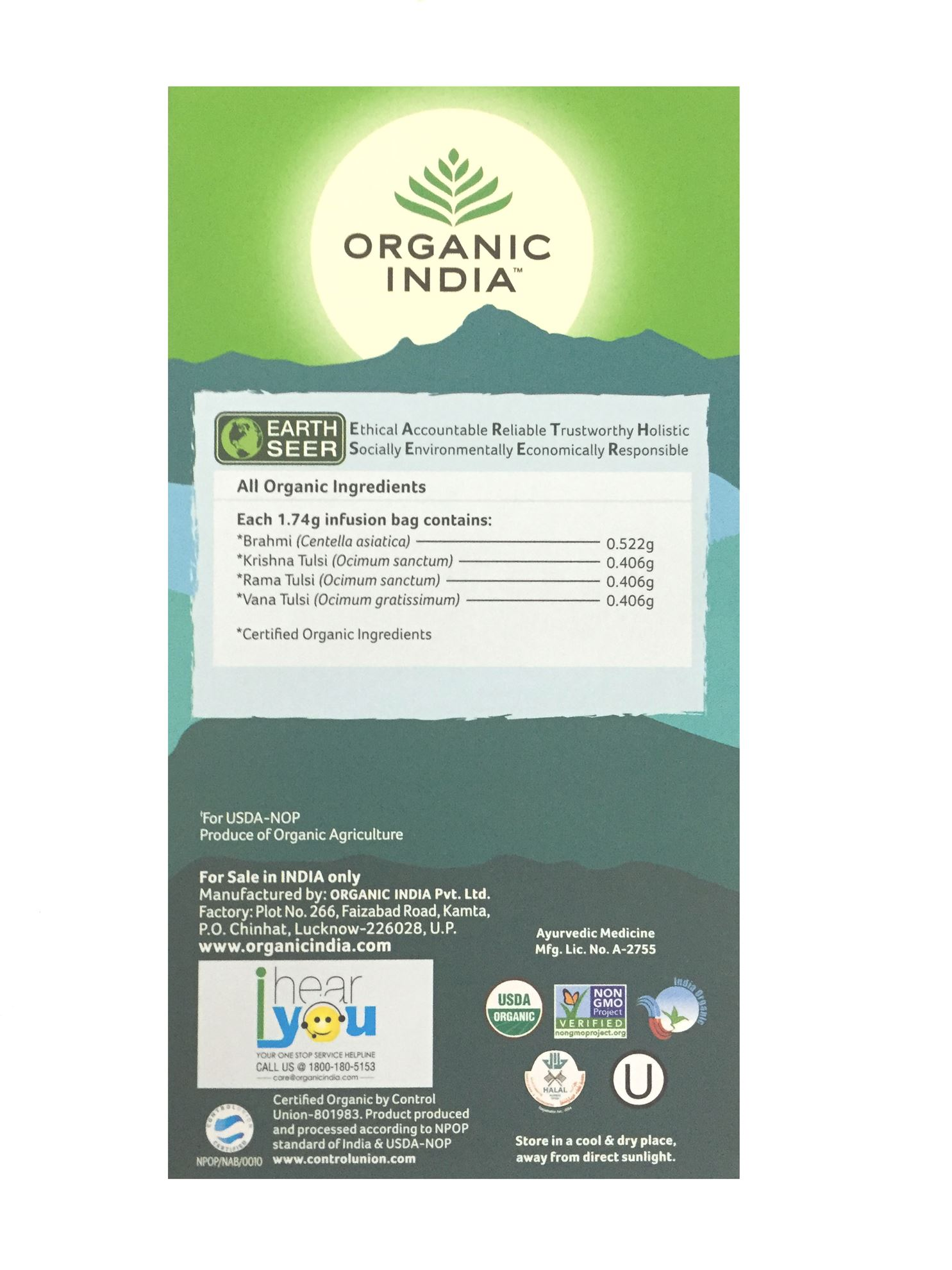 Picture of Organic India-  Tulsi Brahmi Tea 25 Tea Bags