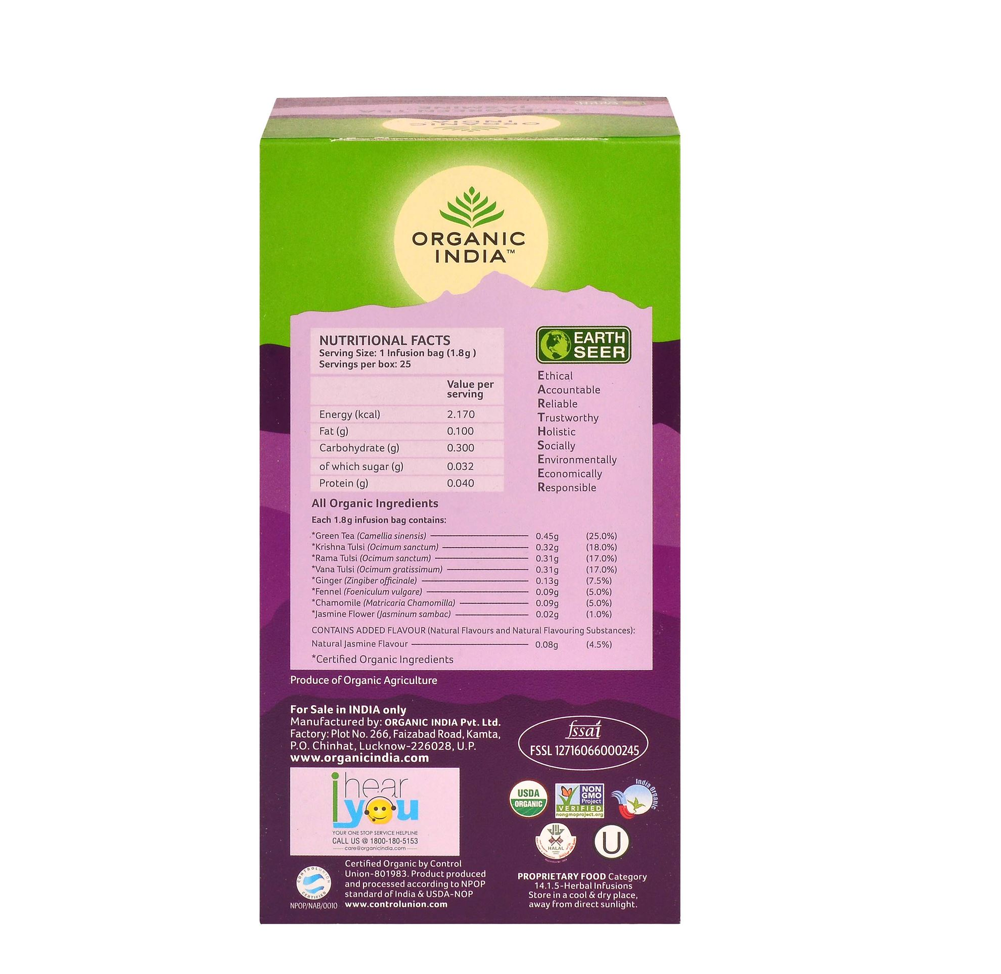 Picture of Organic India-  Tulsi Green Tea Jasmine  25 Tea Bags