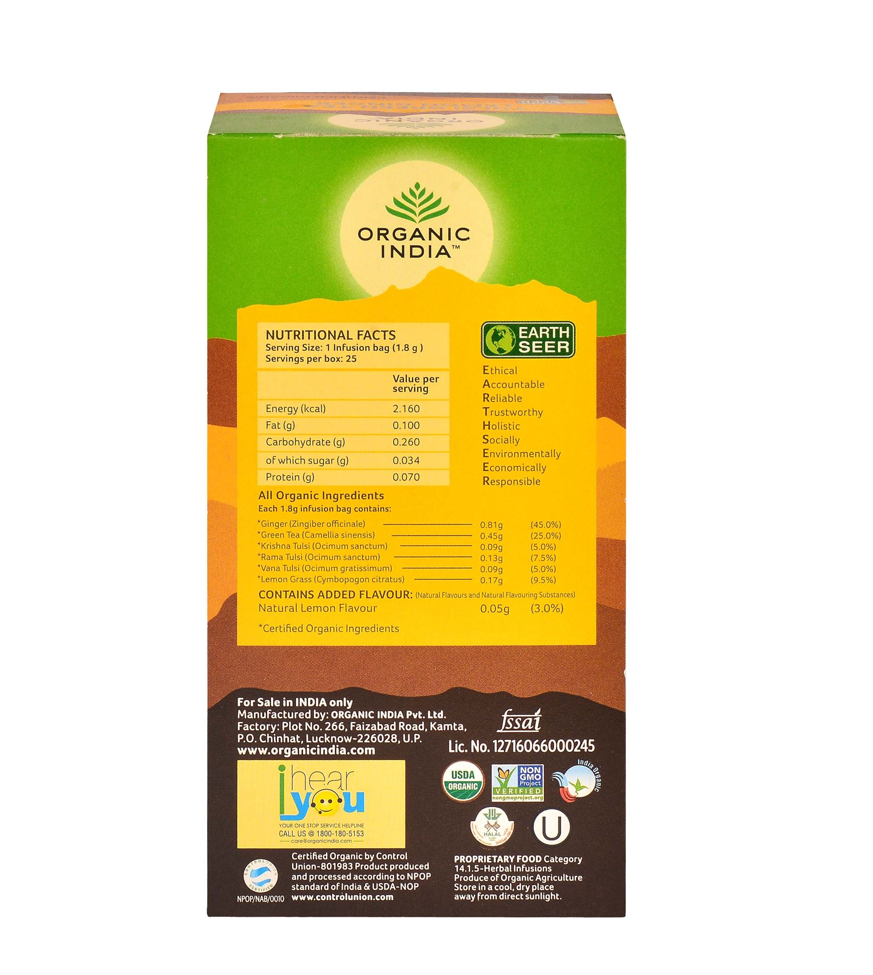 Picture of Organic India-  Tulsi Green Tea Lemon Ginger  25 Tea Bags