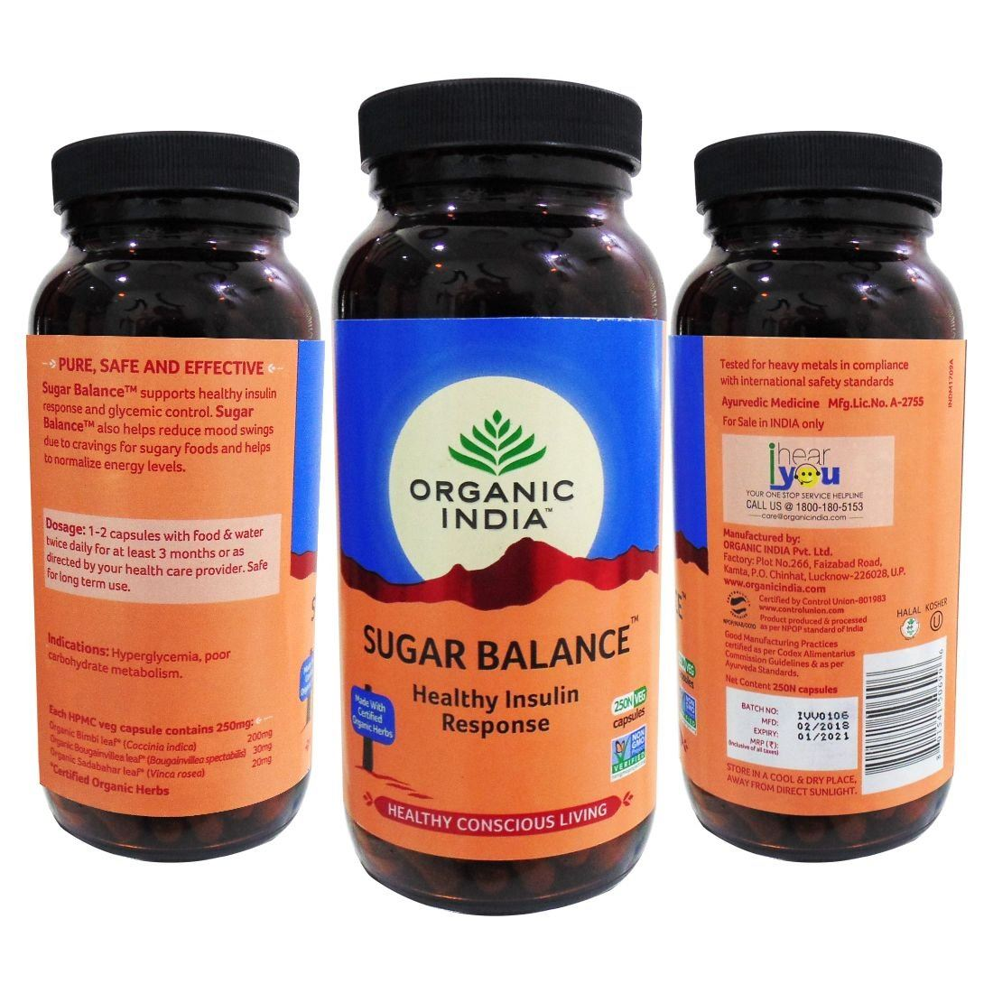 Picture of Organic India- Sugar Balance 250 Capsules Bottle