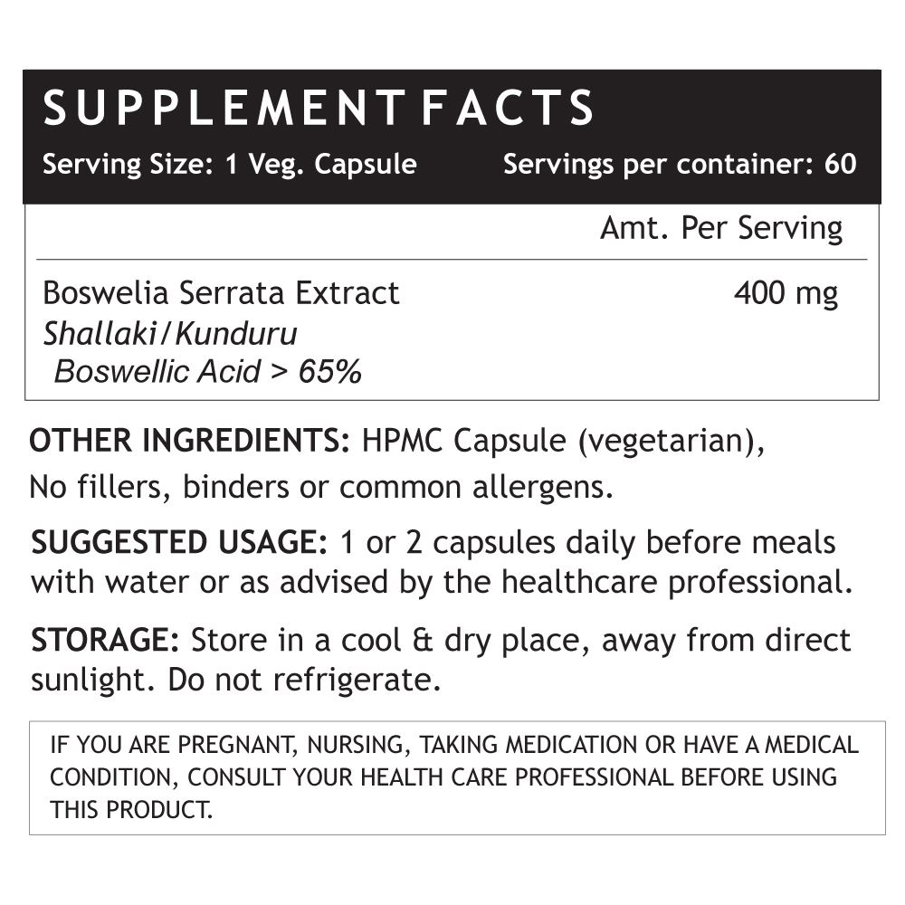 Picture of INLIFE- Boswellia Serrata Extract 400 mg 60 Veg Caps