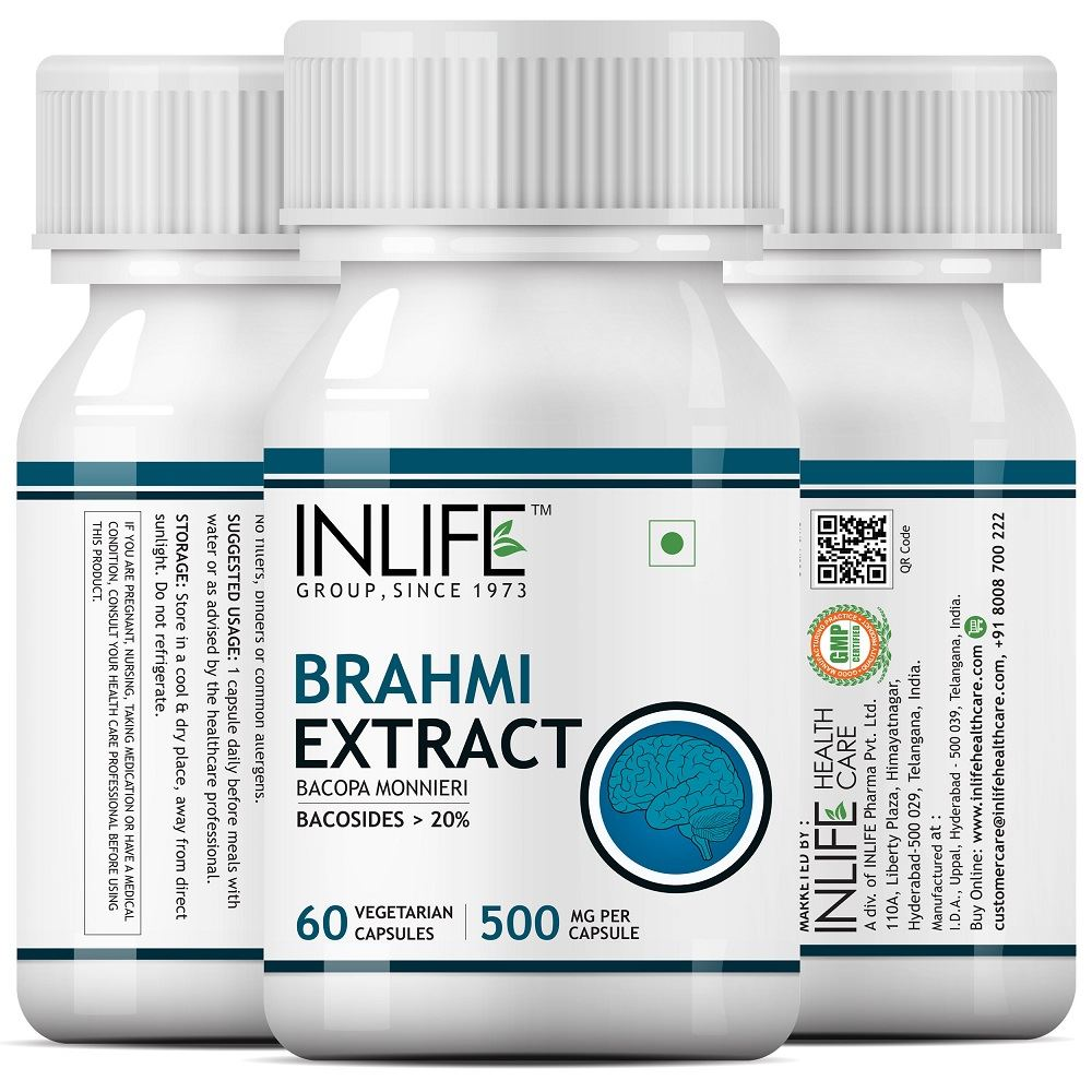 Picture of INLIFE- Brahmi-Bacopa Monnieri Extract 500 mg 60 Veg Caps
