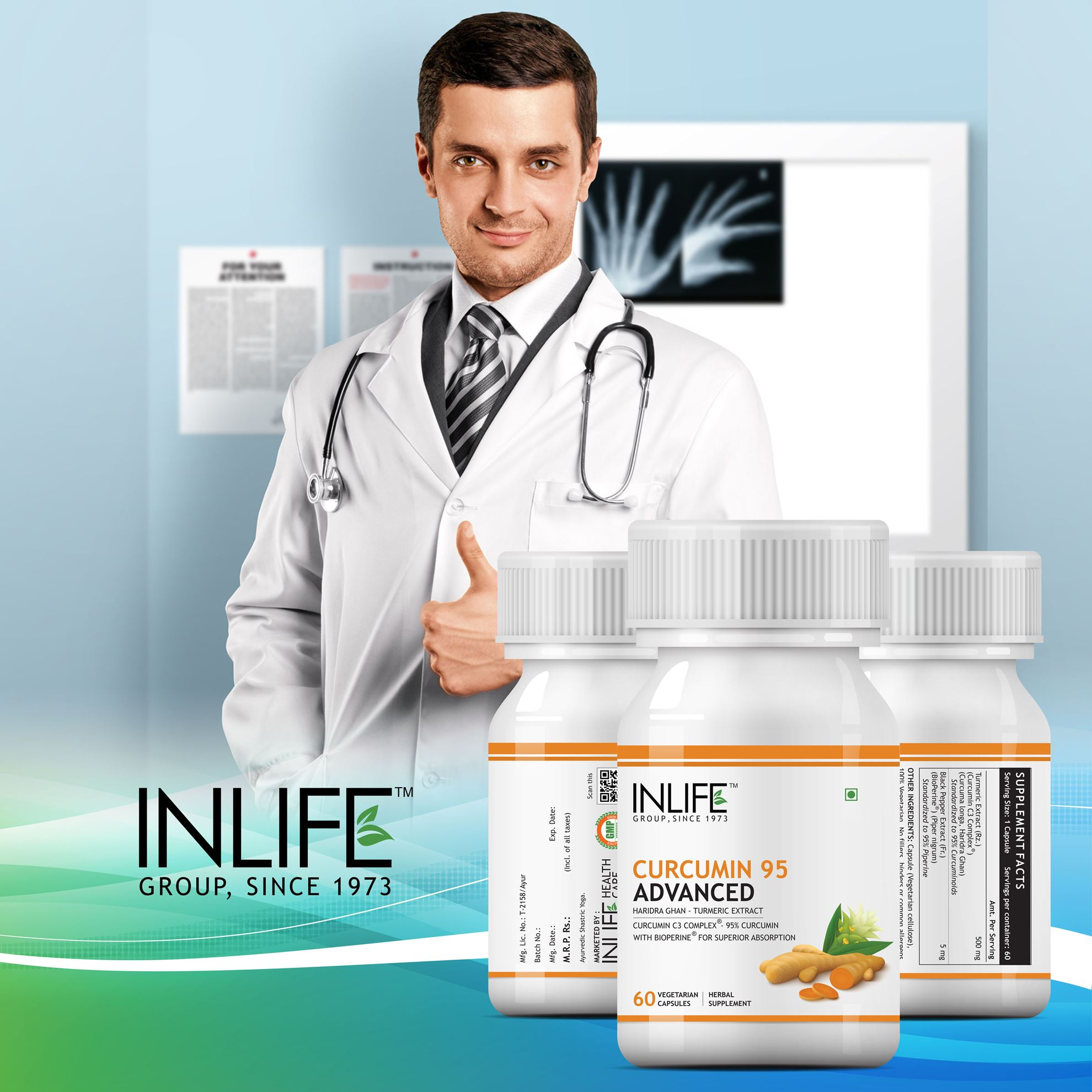 Picture of INLIFE- Curcumin Advanced 500mg Turmeric Extract 60 Caps