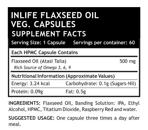 Picture of INLIFE- Flaxseed Oil Extra Virgin 500 mg  60 Veg Caps