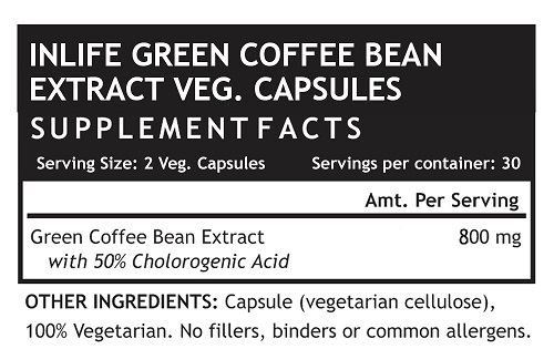 Picture of INLIFE- Green Coffee Bean Extract 800mg 60 Caps
