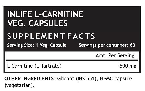 Picture of INLIFE- L-Carnitine L-Tartarate 500mg 60 Caps