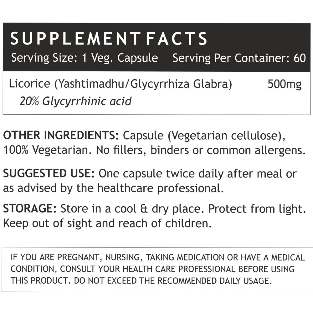 Picture of INLIFE- Licorice Extract Yastimadhu 500 mg 60 Veg Caps