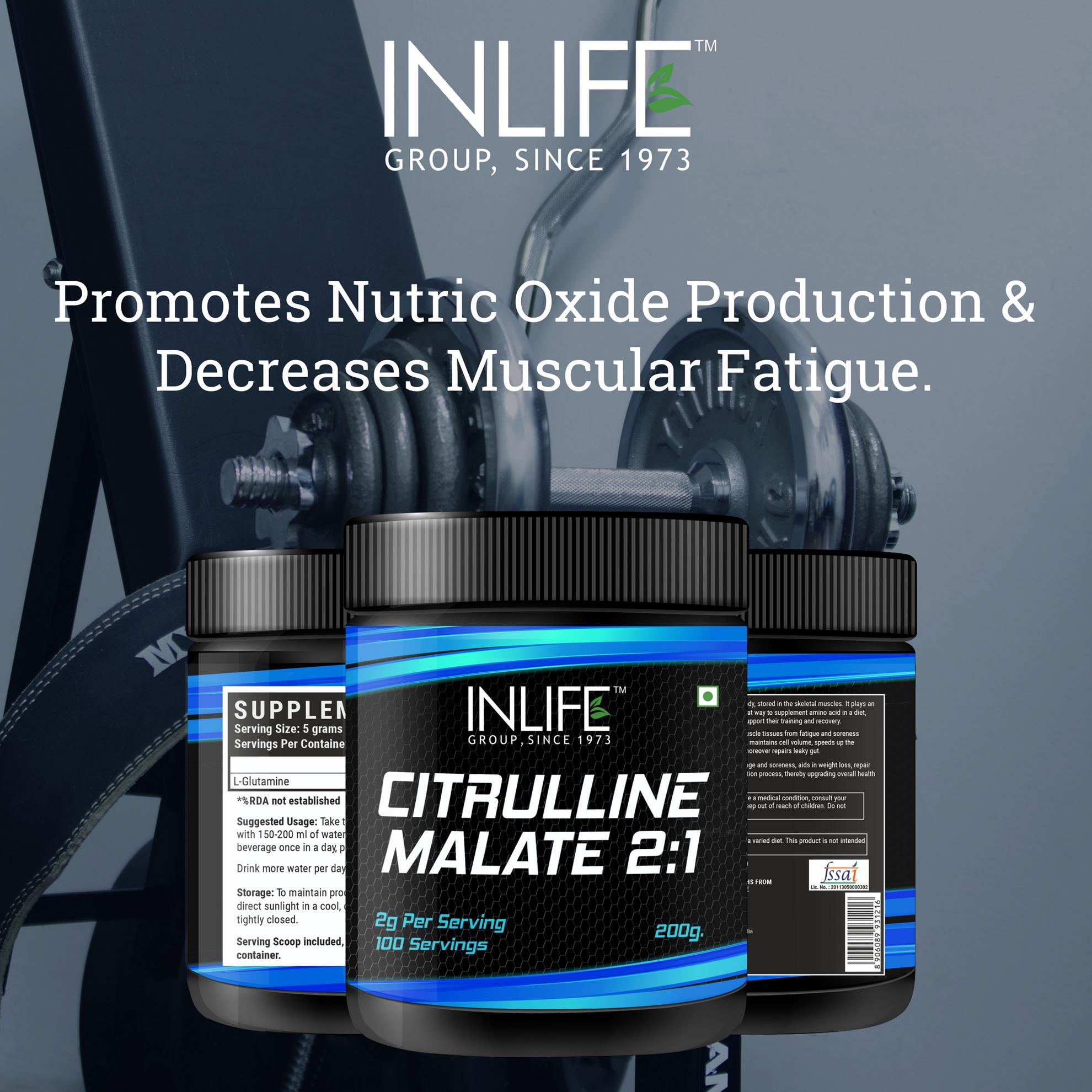 Picture of INLIFE Micronized Citrulline Malate Powder 2:1 Supplement 200 grams