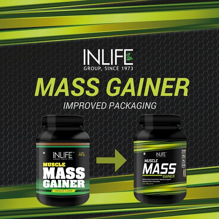 Picture of INLIFE Muscle Mass Gainer Protein Powder with Whey Protein -1 Kg (Chocolate)