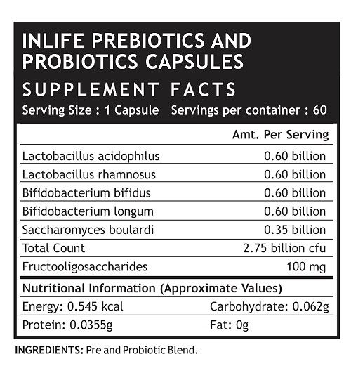 Picture of INLIFE- Prebiotics & Probiotics 60 Caps