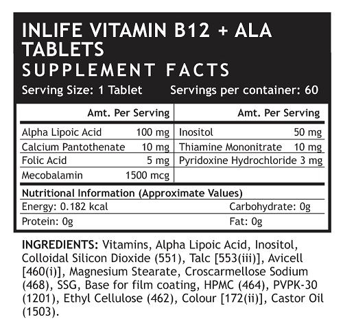 Picture of INLIFE- Vitamin B12 Alpha lipoic acid 60 Tabs