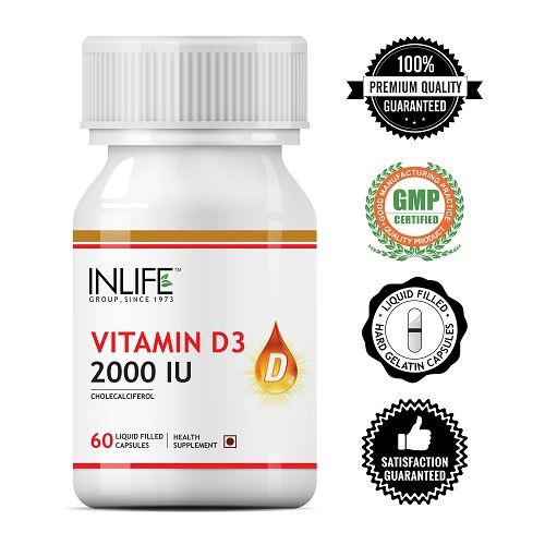 Picture of INLIFE- Vitamin D3 (Cholecalciferol) 2000 IU 60 Caps