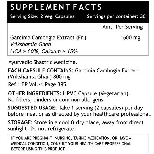 Picture of INLIFE - Garcinia Cambogia Extract 1600 mg 60 Caps