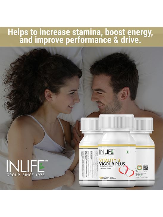 Picture of INLIFE Vitality and Vigour Plus Safed Musli, Shilajit, Mucuna Pruriens, Ashwagandha & more, Booster Product for Men Women - 90 Vegetarian Capsules