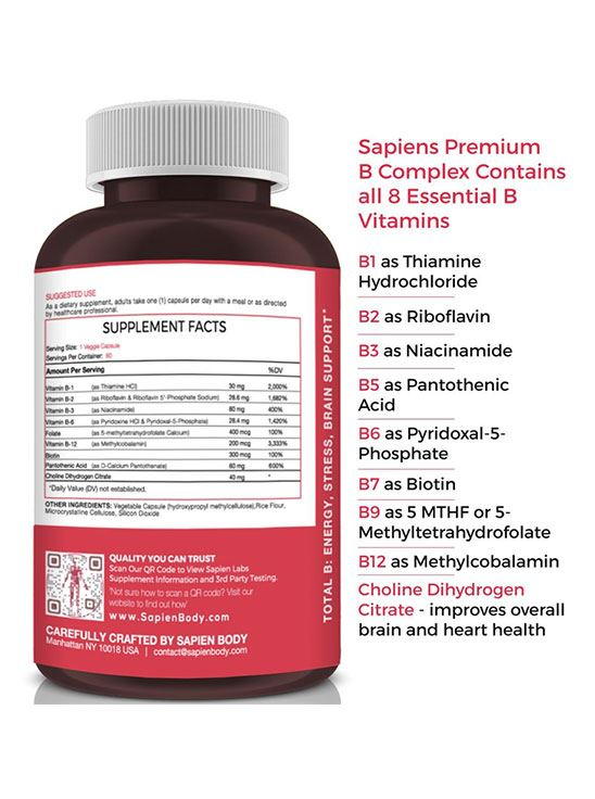 Picture of Sapien Body Total B Energy, Stress and brain support 60 Capsules