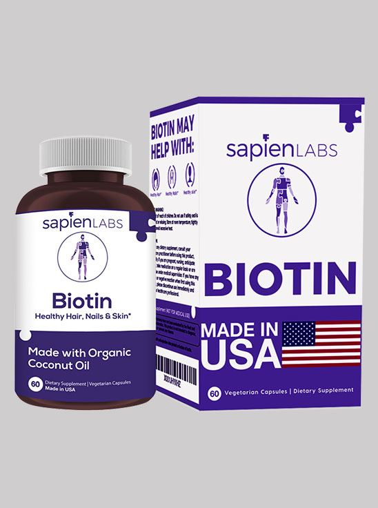 Picture of Sapien Body Biotin For Hair Skin and Nails with Organic Coconut Oil 60 Capsules