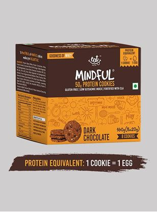 Picture of Eat Anytime Mindful Protein Cookies Dark Chocolate 20 g Pack of 8