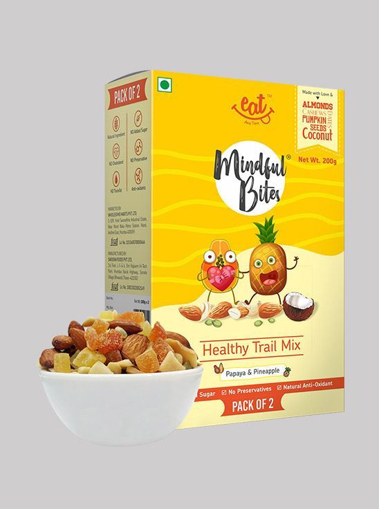 Picture of Eat Anytime Mindful Bites Healthy Trial Mix Dry Fruits & Nuts with Papaya & Pineapple 200 g