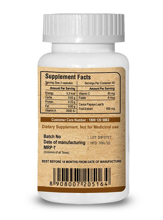 Picture of Pure Nutrition Papaya Complete Supports Platelet Immunity & Digestion 60 Caps
