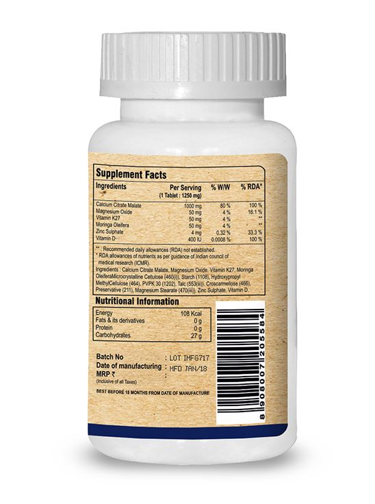 Picture of Pure Nutrition Ultra Calcium Citrate Enhanced Formula For Bone Health 90 Tablets