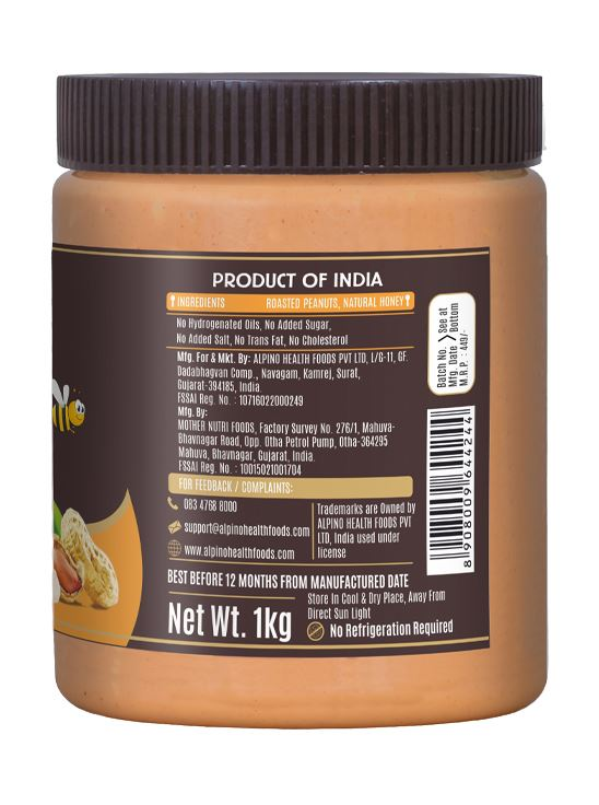 Picture of Alpino Natural Honey Peanut Butter Crunch Gluten Free / Non-GMO 1kg