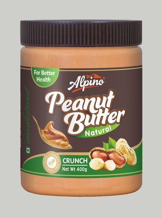 Picture of Alpino Natural Peanut Butter Crunch Unsweetened / Gluten Free / Non-GMO 400g