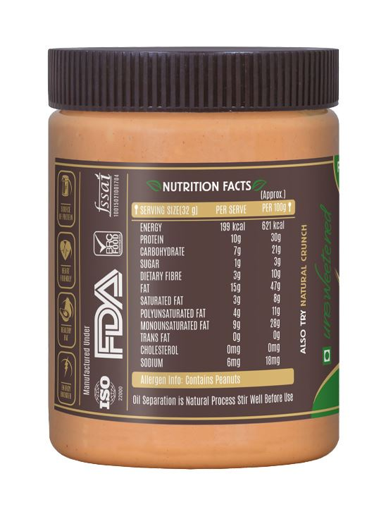 Picture of Alpino Natural Peanut Butter Smooth Unsweetened / Gluten Free / Non-GMO 400g